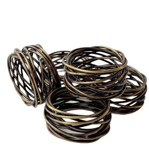 Metal rustic coiled napkin rings bronze brass 5 pc